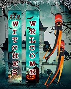Halloween Porch Decorations, It's October Witches Banner with Pumpkin Windsock Flag, Outdoor & Indoor Welcome Signs for Door ( It's October Witches Blue)