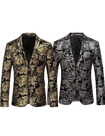 b8370486bd56 Costume de Luxe pour Homme Blazer Veste de Smoking Smoking élégante Coupe  Slim(Argenté
