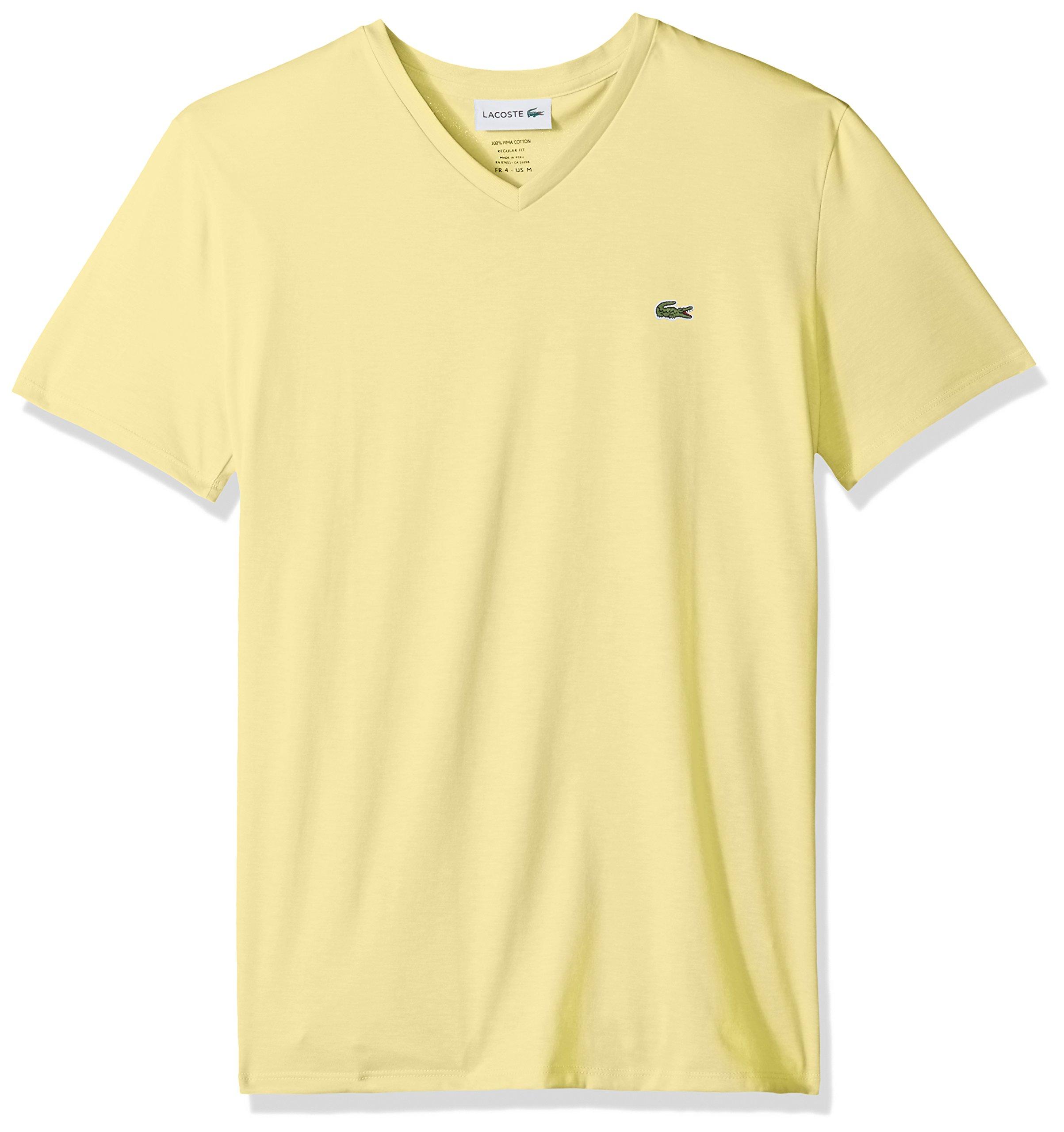 c30d4b2f Galleon - Lacoste Men's Short Sleeve V Neck Pima Jersey T-Shirt, TH6710,  Yellow, 4X-Large