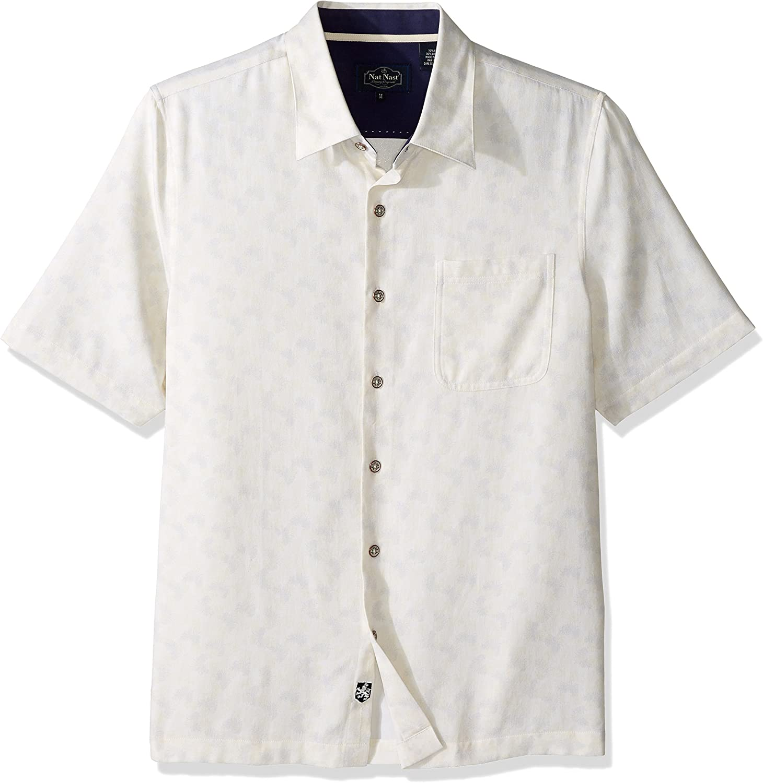 Nat Nast Mens Conversational Print Traditional Fit Silk Blend Shirt