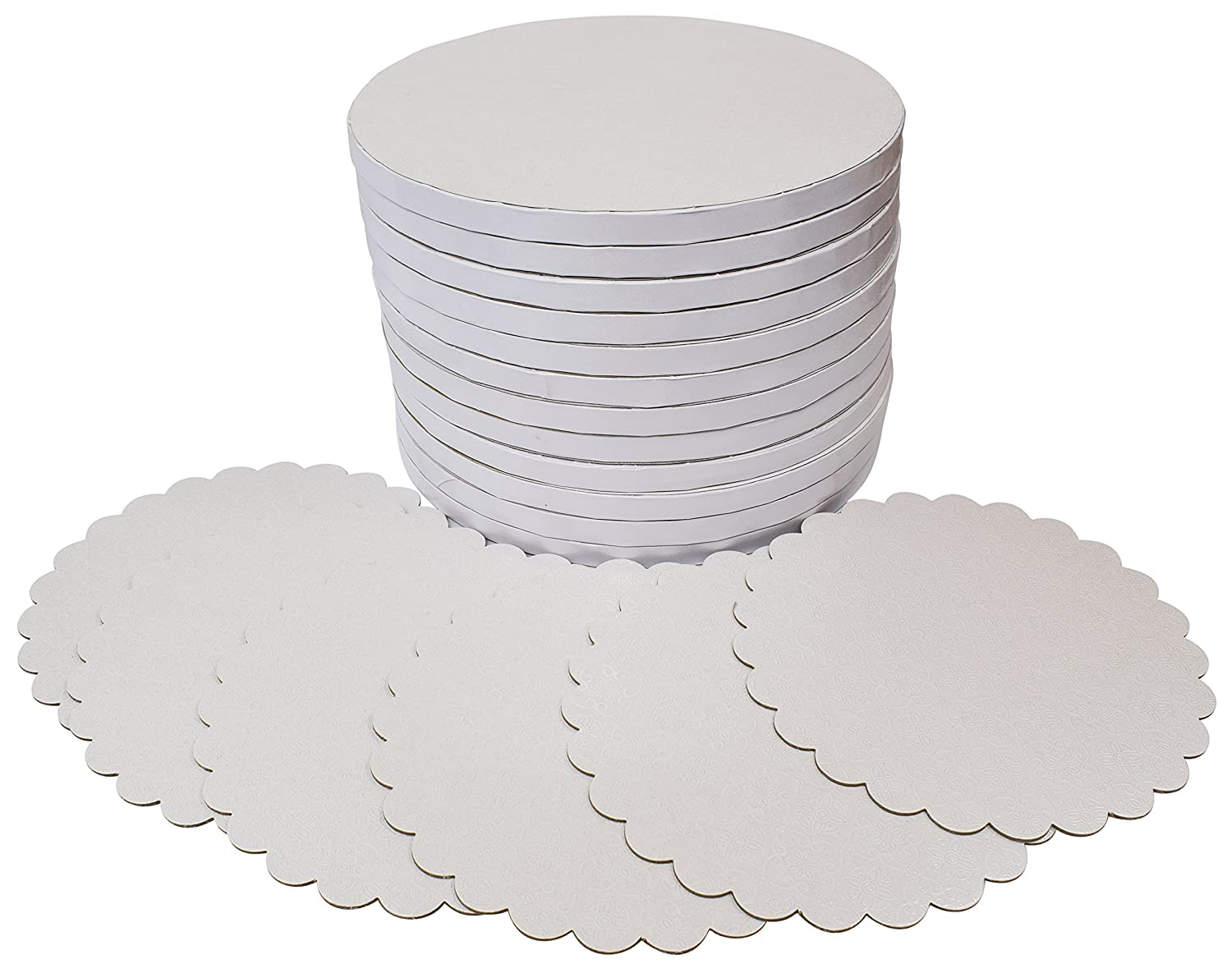 TROLIR 12 Inch White Round Cake Drums, 12 Pack, Smooth Edge, Sturdy and Greaseproof Boards of 1/2 Inch Thick Corrugated Paper, Covered With PET Film of Flower Pattern, Bonus - 6 Scalloped-Edge Pads TR-RCD-12-12-WT