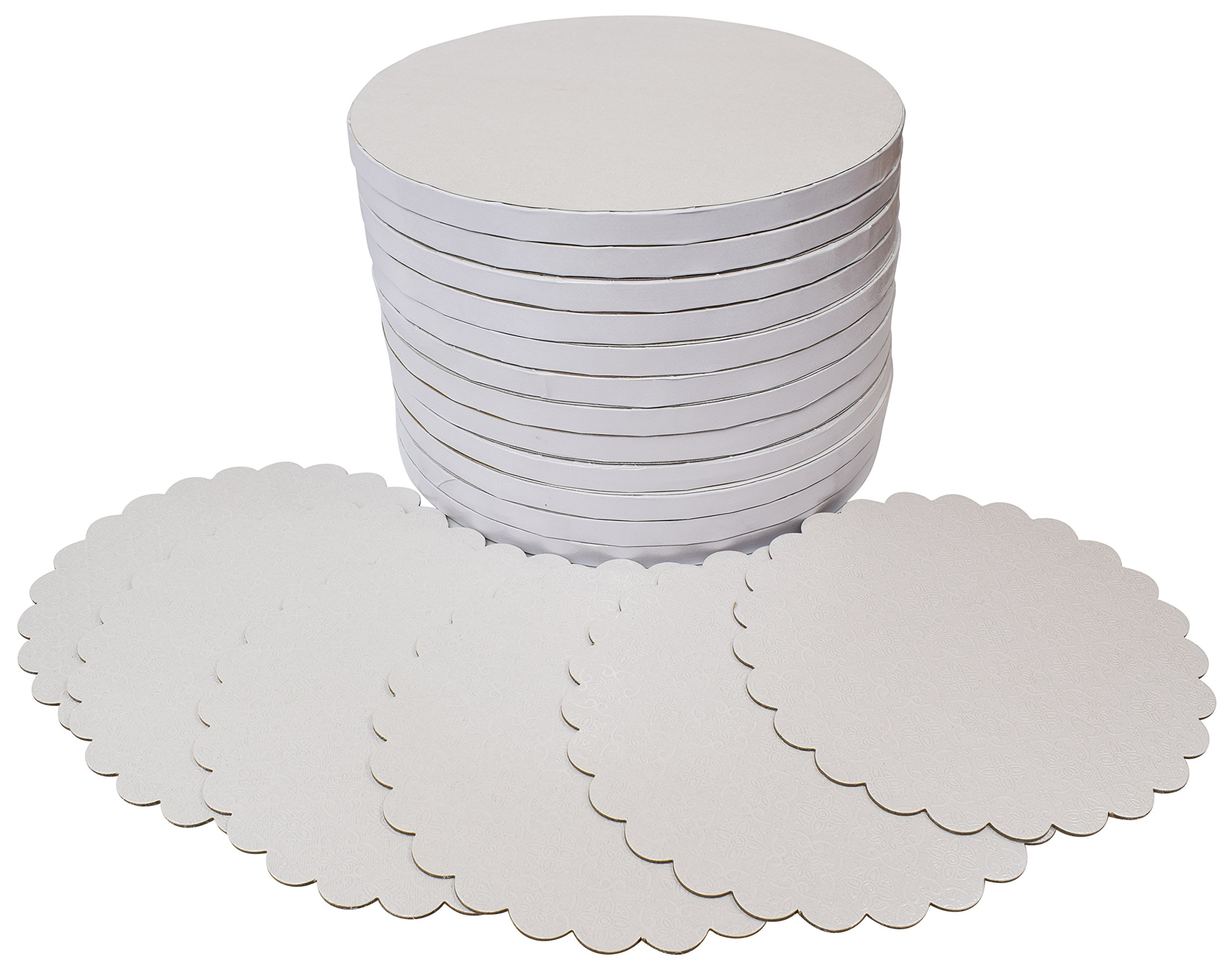 TROLIR 10 Inch White Round Cake Drums, 12 Pack, Smooth Edge, Sturdy and Greaseproof Boards of 1/2 Inch Thick Corrugated Paper, Covered With PET Film of Flower Pattern, Bonus - 6 Scalloped-Edge Pads