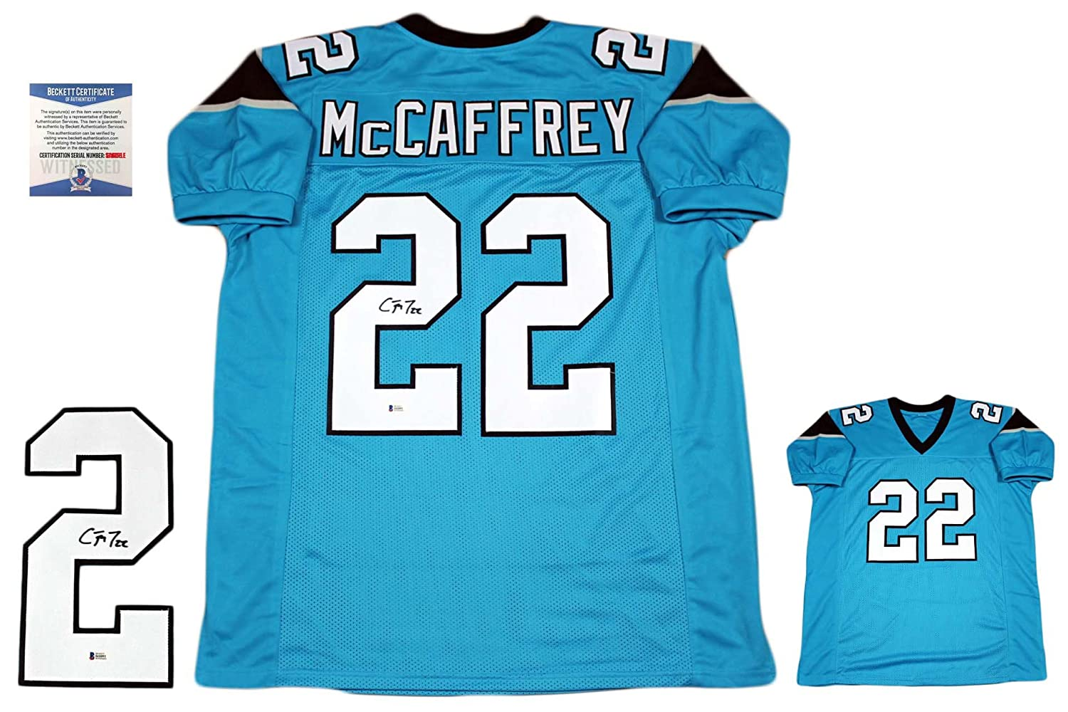 6db03127b Christian McCaffrey Autographed Signed Custom Jersey - Beckett - Pro Style  - Blue at Amazon s Sports Collectibles Store
