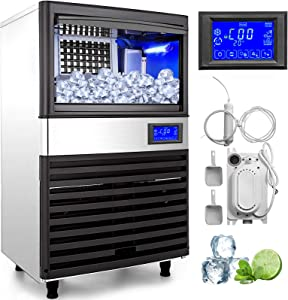 VEVOR 110V Commercial ice Maker 155LBS/24H with 44LBS Bin and Electric Water Drain Pump, Full Clear Cube, Stainless Steel, Auto Operation, Include Water Filter, 2 Scoops and Connection Hose