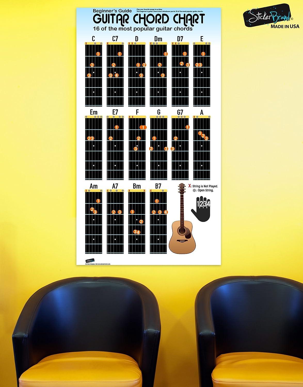 Stickerbrand Cartel de tabla de acordes de guitarra para principiantes para estudiantes y profesores guía práctica educativa 16 pulgadas de alto X 9 ...