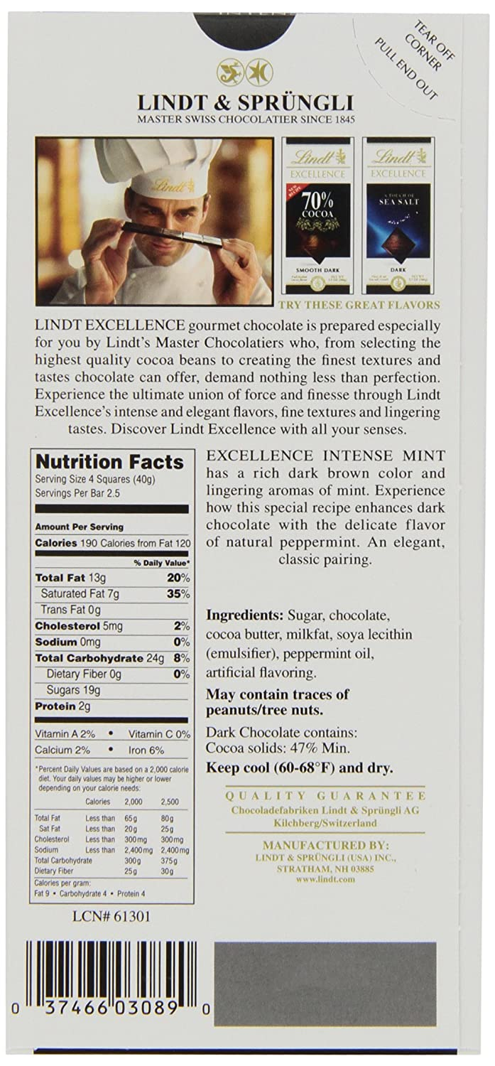 Amazon.com : Lindt Excellence Intense Mint Dark Chocolate Bar, 3.5 ...