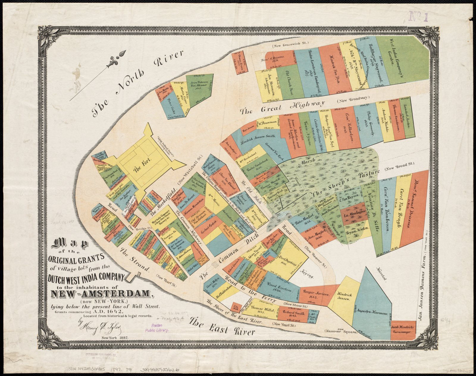 Historic Map   Map of the original grants of village lots from the Dutch West India Company to the inhabitants of New-Amsterdam (now New-York)   Antique Vintage Reproduction