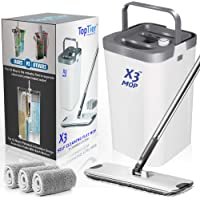 Top Tier Products X3 Flat Mop and Bucket System, 3-Chamber Design, Hands Free Self Cleaning System, 3 Washable…