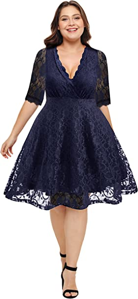 Pinup Fashion Women S Lace V Neck Plus Size Dresses Bridal Wedding Party