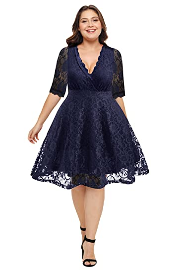 64b49b7cfaf3 Pinup Fashion Women's Plus Size V-Neckline Lace Flared Cocktail Wedding  Dress Navy Blue 14