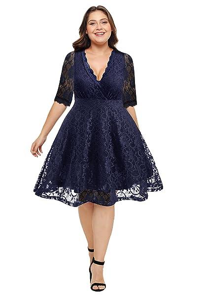 Amazon.com: Pinup - Vestido de encaje para mujer, cuello en ...