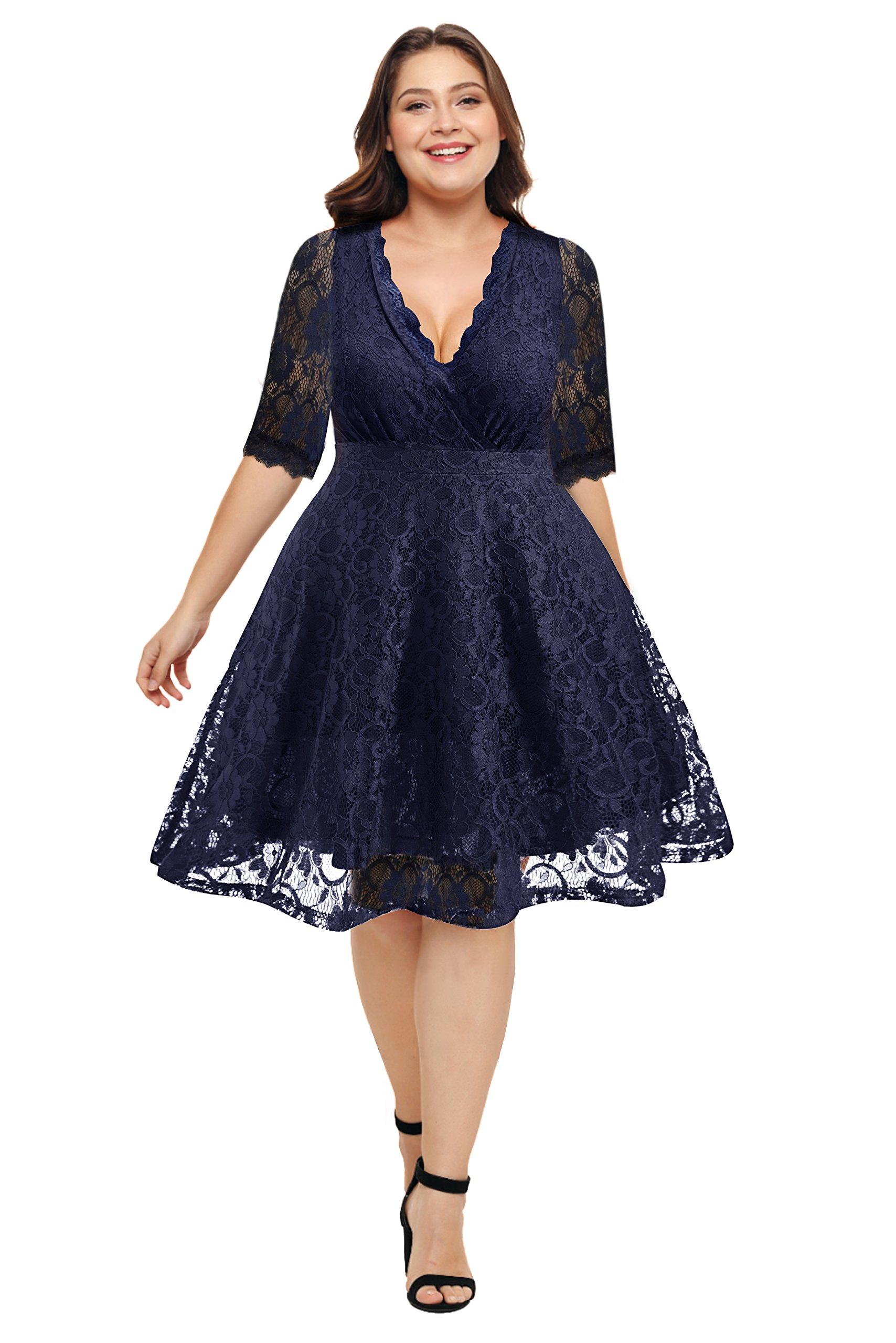 Pinup Fashion Women's Plus Size V-Neckline Lace Flared Cocktail Dress Navy Blue 22W