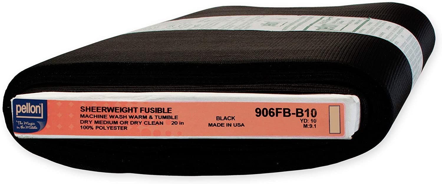 Black Pellon 905 Sew-in Sheerweight Interfacing 20 x 10 yd Bolt Color