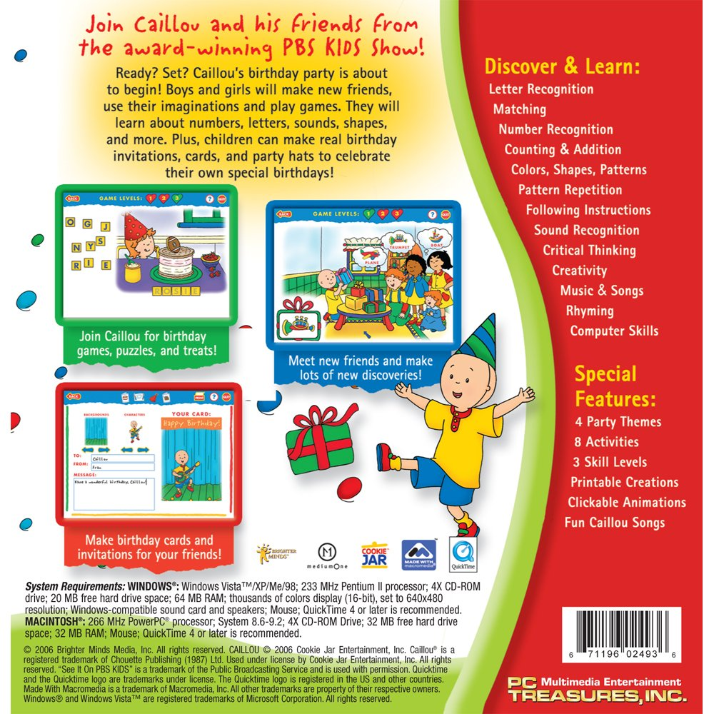 Amazon.com: Caillou Party Fun and Games Software [Old Version]