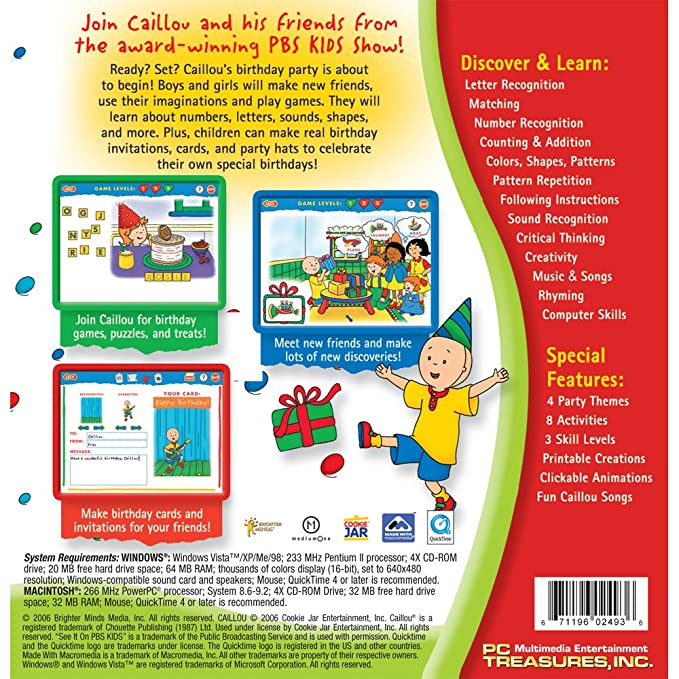 Amazon Caillou Party Fun And Games Software Old Version