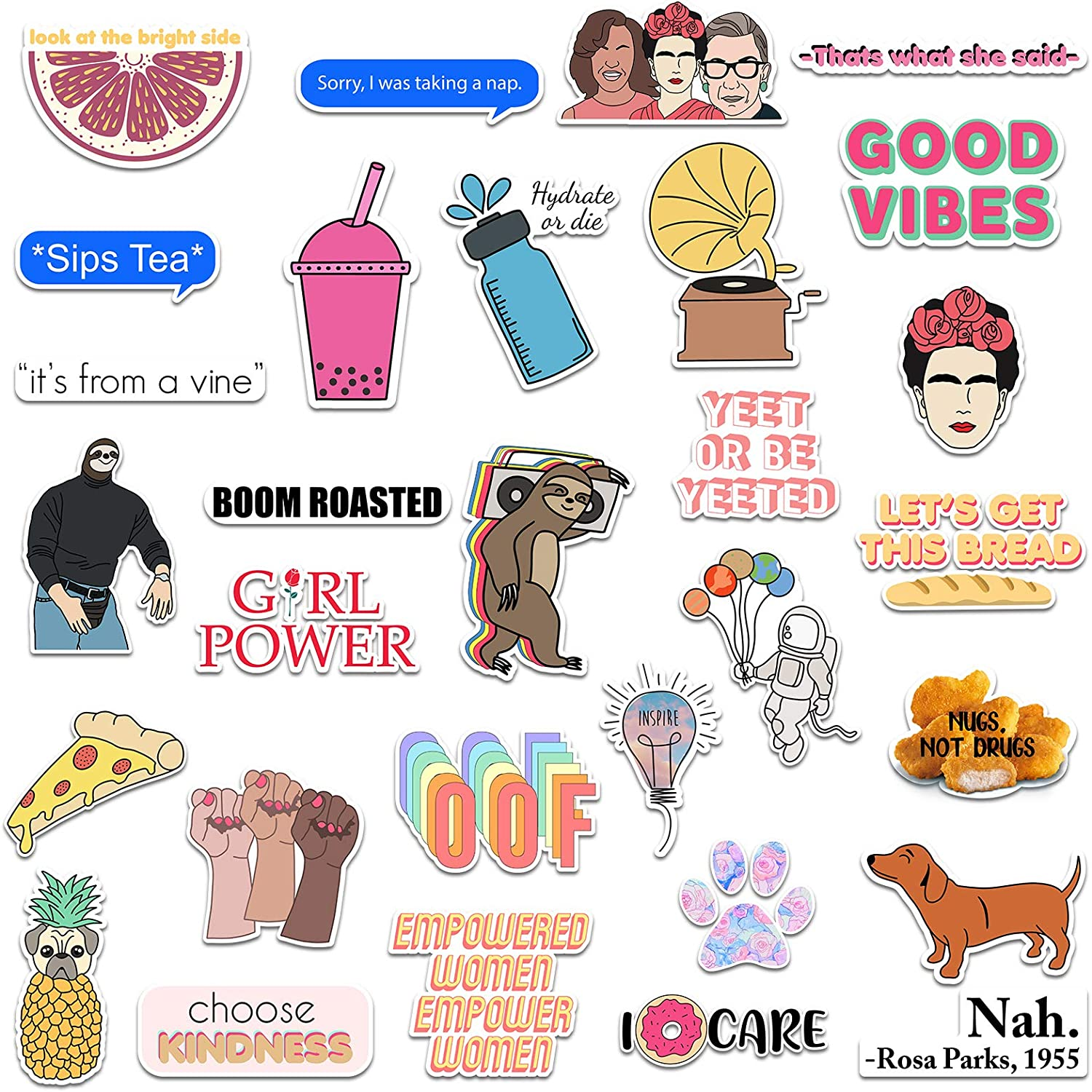 RipDesigns - 30 Vinyl Stickers for Water Bottles, Laptops (Series 7)