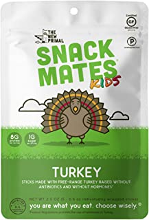 product image for Snack Matesby The New Primal Free-Range Turkey MINI Sticks, High Protein and Low Sugar Kids Snack, Certified Paleo, Certified Gluten-Free, Lunchbox Friendly,5 (0.5 oz) Sticks Per Pack (8 Pack)