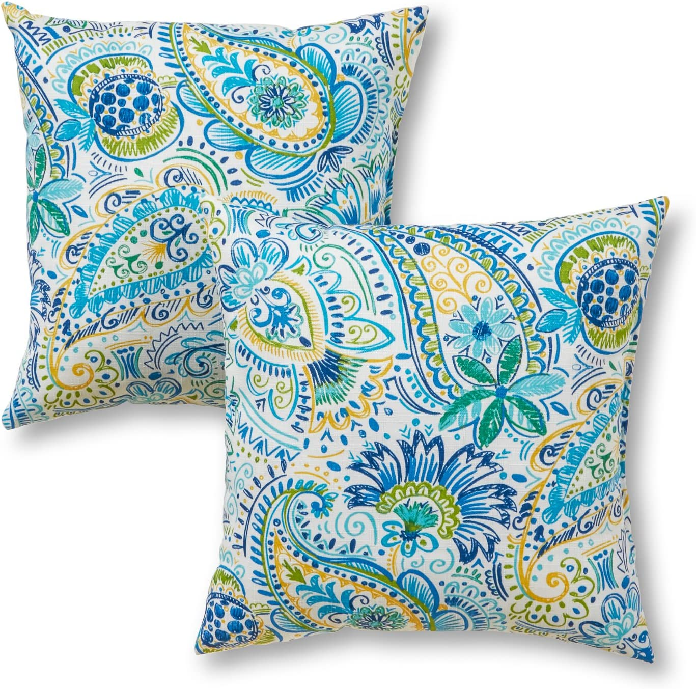 "Greendale Home Fashions 5"" Outdoor Accent Pillows in Painted Paisley (Set  of 5), Baltic"