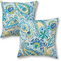 """Greendale Home Fashions 17"""" Outdoor Accent Pillows in Painted Paisley (Set of 2), Baltic"""