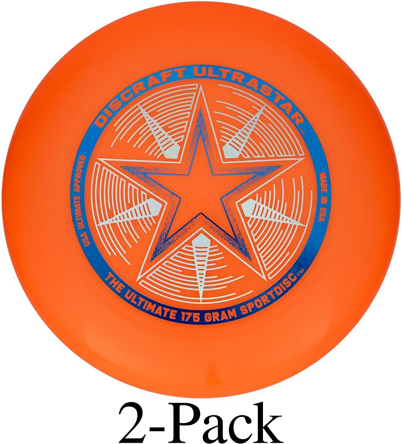 2-Pack Discraft Ultra-Star Ultimate Frisbee 175 Gram Championship Disc White