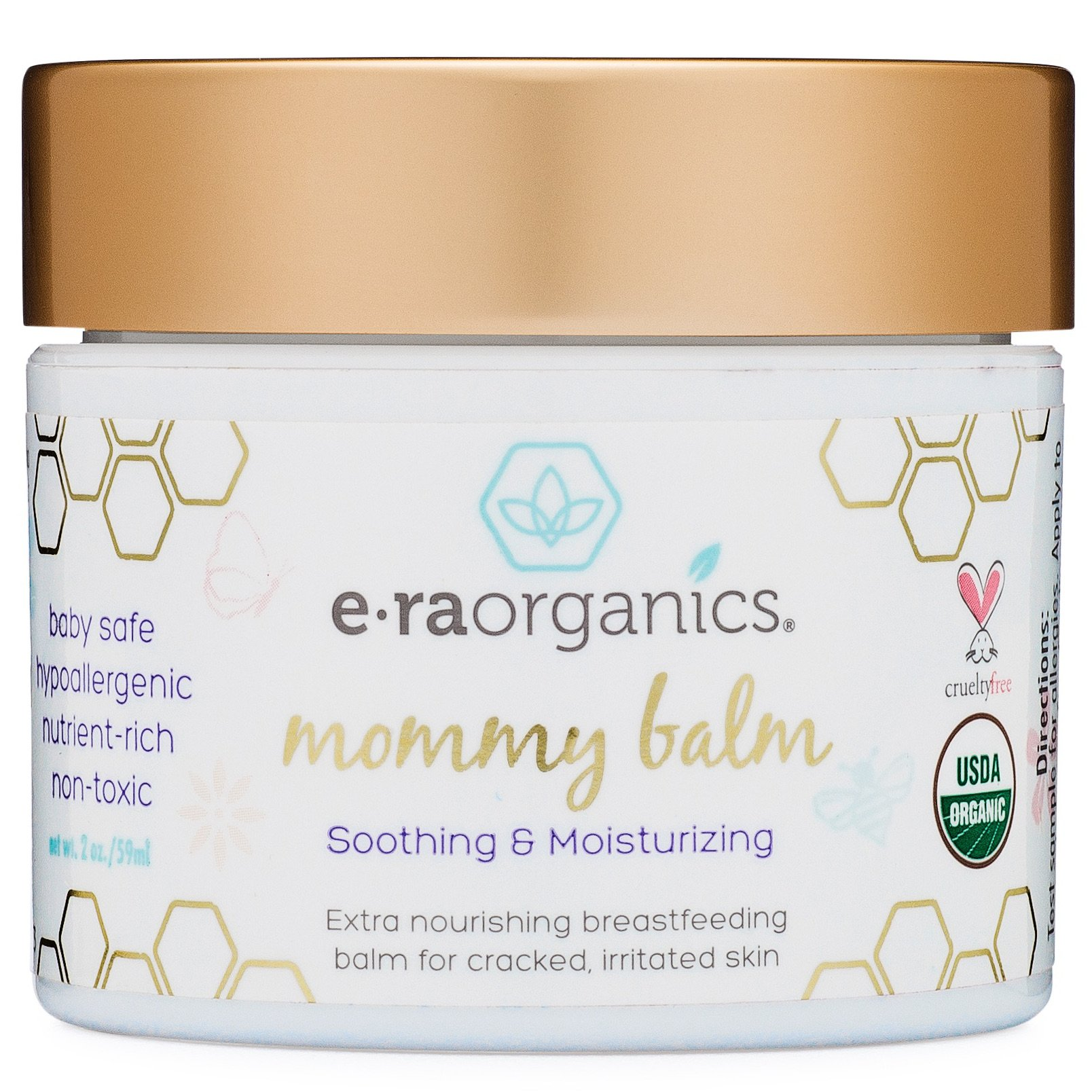 Soothing Nipple Cream for Breastfeeding Moms 100% Natural, USDA Certified Organic Healing Balm for Chapped, Irritated, Sensitive Skin Care. Non-GMO, Baby Safe Breastfeeding Cream Era-Organics by Era Organics