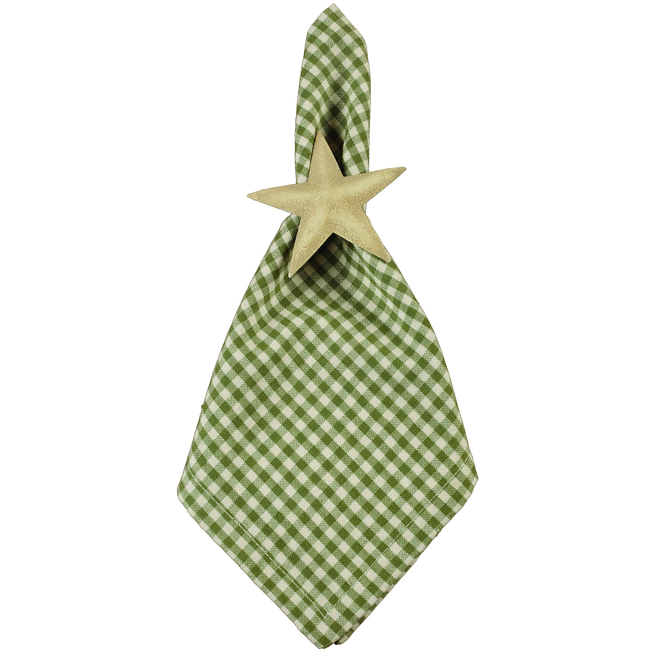 Set of 12 Plaid Country Farmhouse Sage Green Check 18 x 18 Fabric Cloth Napkins