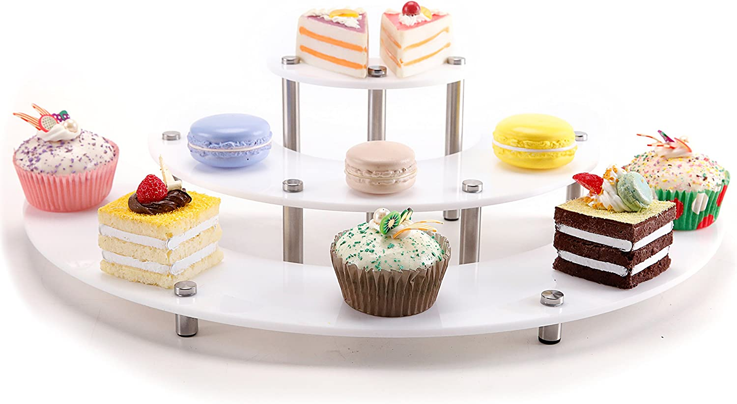 MyGift 3-Piece Set White Acrylic Semicircle Server Cupcake Dessert Display Stand, Tabletop Collectible Showcase Risers