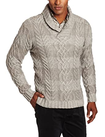 Perry Ellis Men s Long Sleeve Shawl Collar Cable Knit Sweater 3bf191430