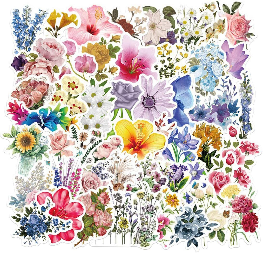 50 PCS Small Vintage Flower Vinyl Stickers Decals Bulk Waterproof for Scrapbooking Wall Aesthetic Water Bottles Envelopes Cars Crafts Computers Journaling Laptop