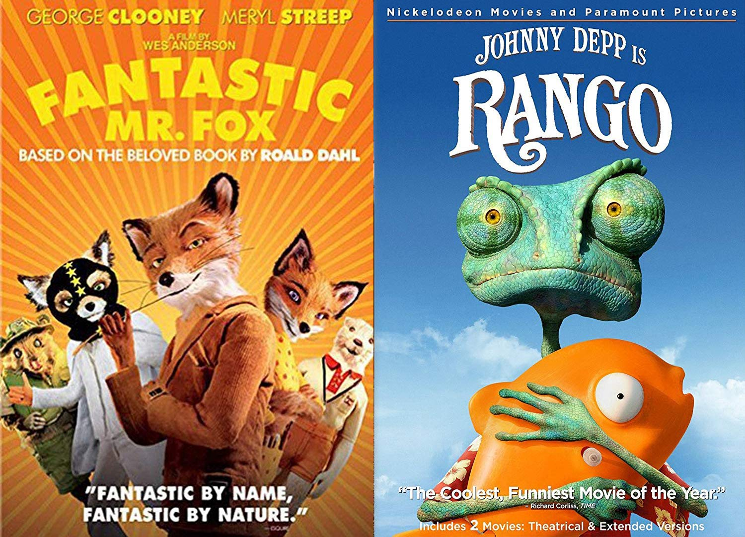 Amazon Com Chameleon Fox Animated Double Feature Rango The Sly Fantastic Mr Fox Wes Anderson Dvd 2 Pack Fun Film Set Johnny Depp George Clooney Wes Anderson Movies Tv