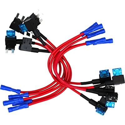 10 Pack - EPAuto 12V Car Add-a-circuit Fuse TAP Adapter Mini ATM APM Blade Fuse Holder: Automotive