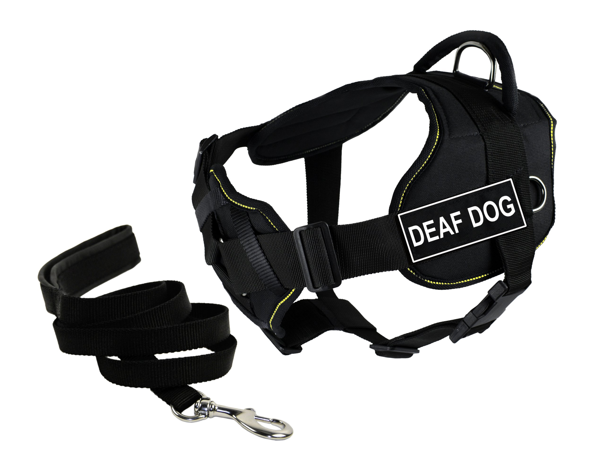 Dean & Tyler's DT Fun Chest Support ''DEAF DOG '' Harness, Large, with 6 ft Padded Puppy Leash.
