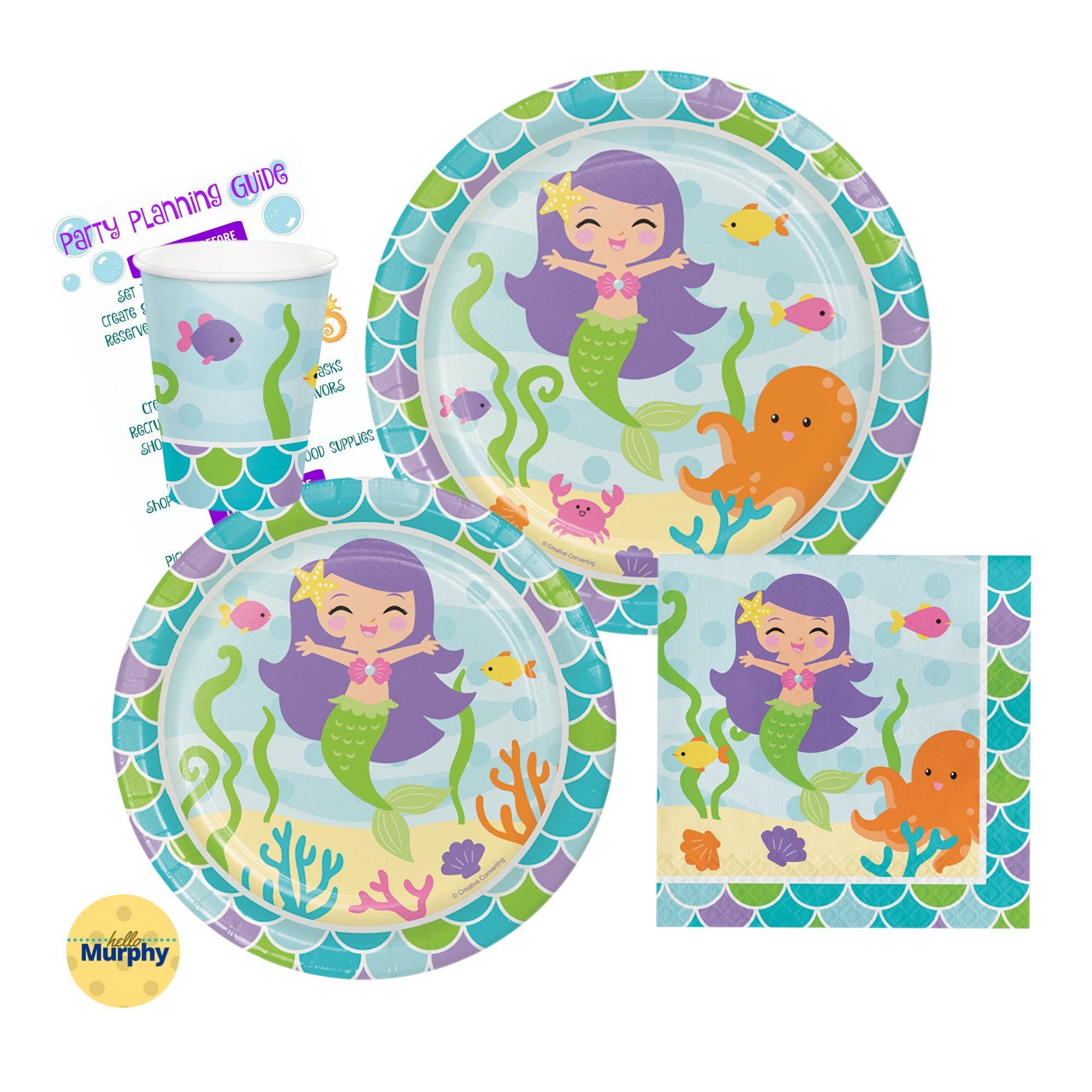 Mermaid Party Pack for 16 - Plates, Cups, and Napkins | Mermaid Party Supply Tableware Set Kit Includes Party Planning Guide