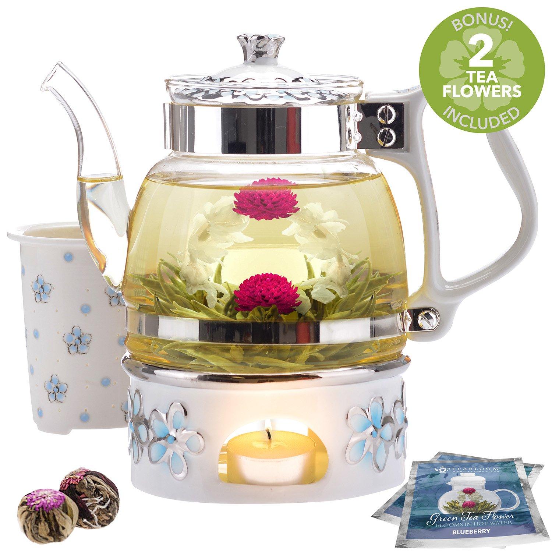 Teabloom Princess of Monaco Teapot & Blooming Tea Gift Set (6 Pieces) - Borosilicate Glass Teapot (34oz/1000ml), Porcelain Lid, Teapot Warmer, Porcelain Tea Infuser + 2 Berry Flowering Teas by Teabloom (Image #2)