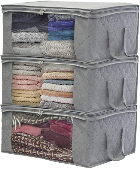 Sorbus Foldable Storage Bag Organizers Large Clear Window Carry Handles Great For Clothes Blankets Closets Bedrooms And More 3 Pack Gray Home Kitchen