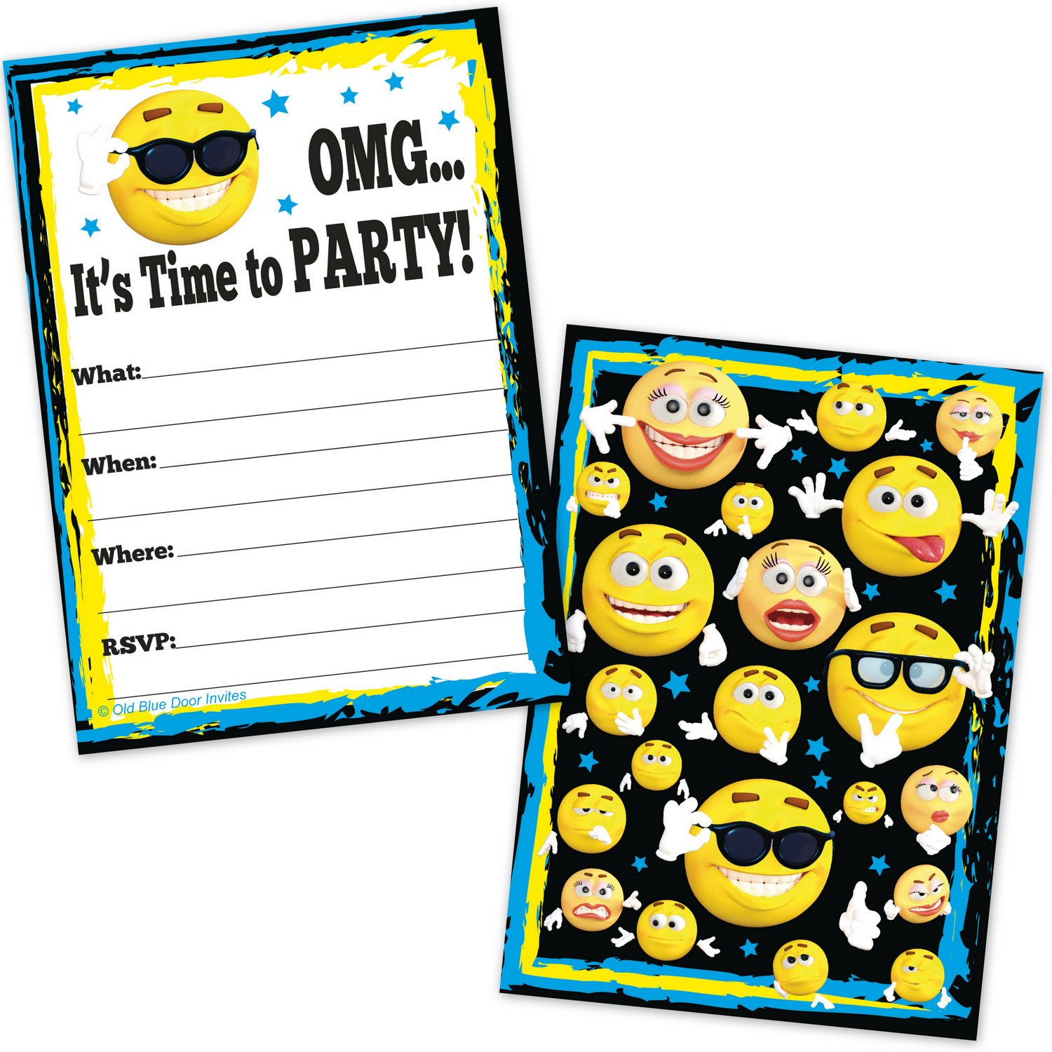 amazon com emoji lol invitations w envelopes 8ct toys games