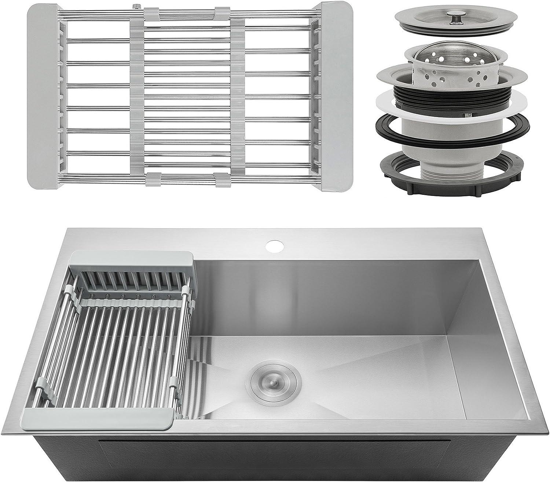 Firebird Topmount Drop-In Single Bowl 18 Gauge Handmade Stainless Steel  Kitchen Sink w/Adjustable Drying Rack & Drain (33 Inch x 22 Inch)