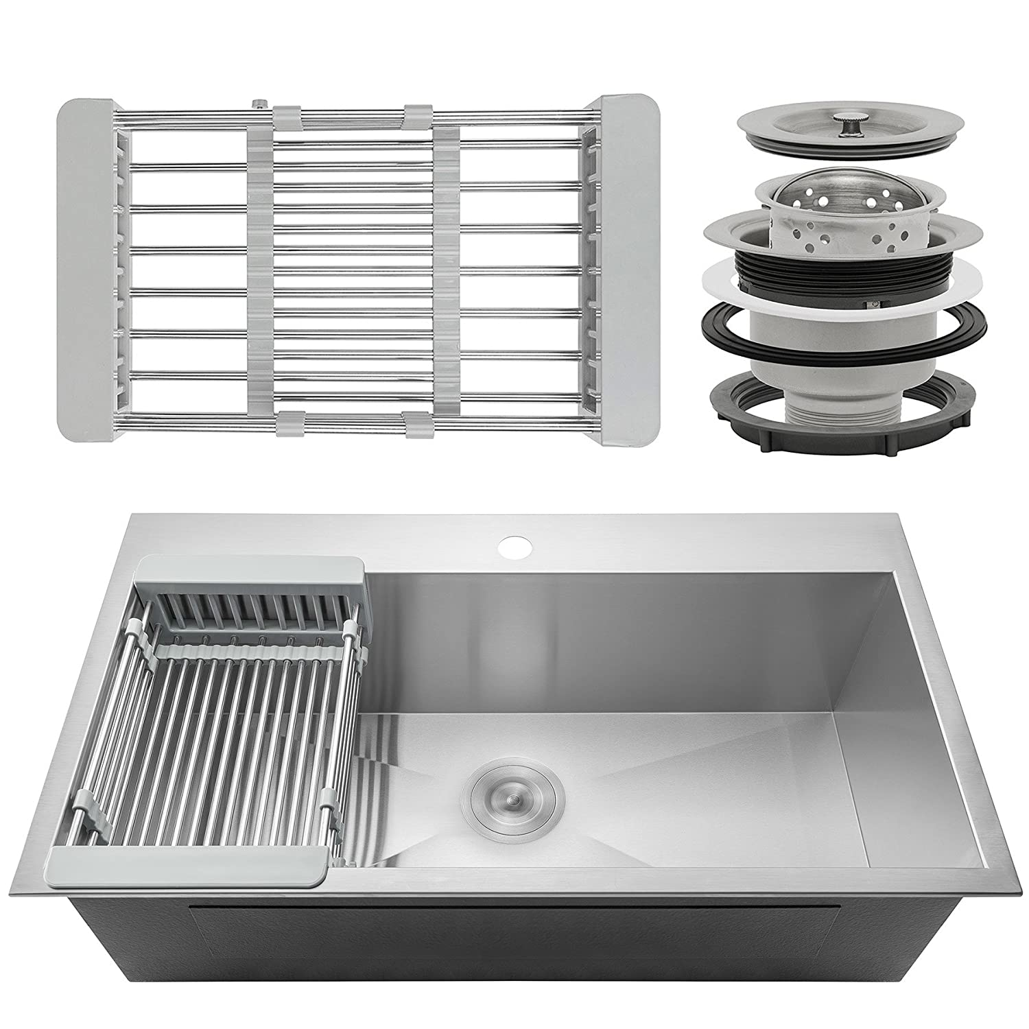 Firebird 33 x 22 x 9 Single Bowl 18 Gauge Handmade Stainless Steel Topmount Drop-In Kitchen Sink w Adjustable Dish Tray Drain