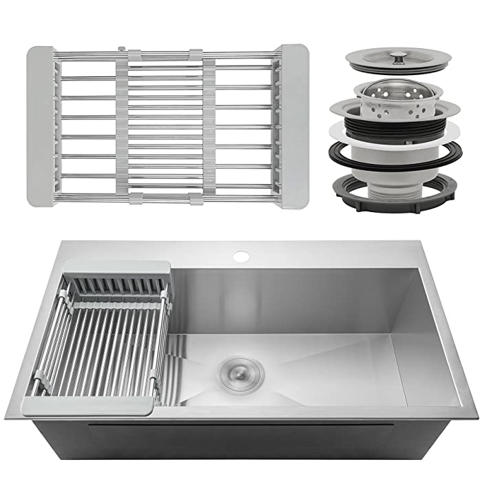 "Firebird 33"" x 22"" x 9"" Single Bowl 18 Gauge Handmade Stainless Steel Topmount Drop-In Kitchen Sink w/ Adjustable Dish Tray & Drain"