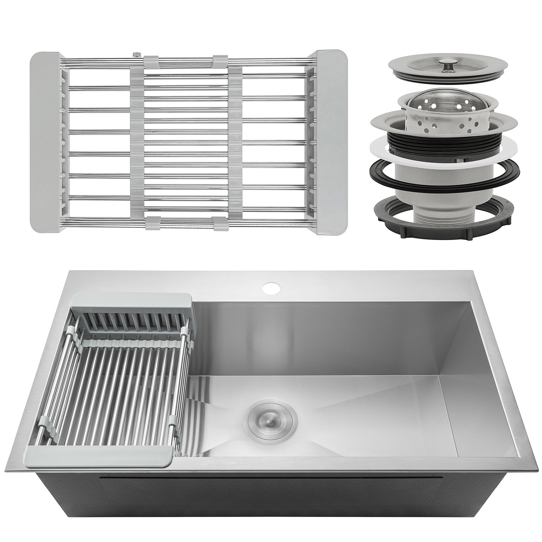 Firebird 33'' x 22'' x 9'' Single Bowl 18 Gauge Handmade Stainless Steel Topmount Drop-In Kitchen Sink w/ Adjustable Dish Tray & Drain by Firebird