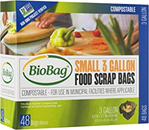 BioBag Compostable Countertop Food Scrap Bags, 3 Gallon, 576 Count