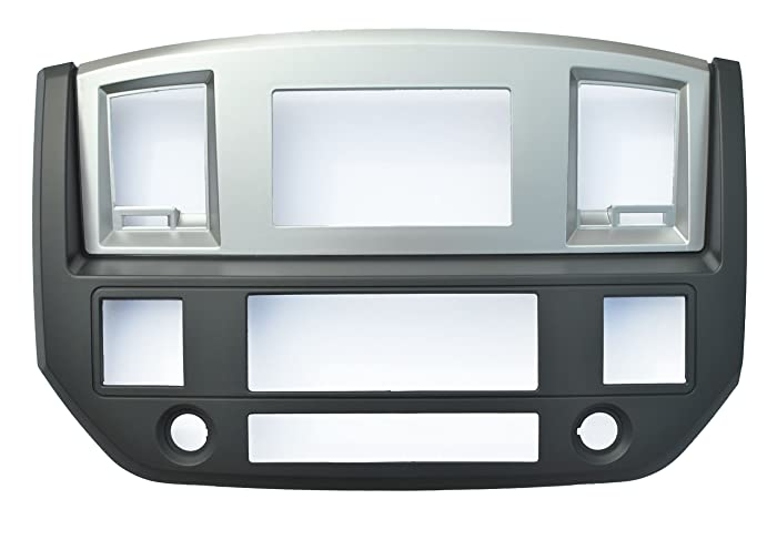 SLATE GREY Black and Silver Aftermarket Stereo Radio Double Din Dash Install Kit Fitted For Dodge Ram 2006 2007 2008 2009 (Standard, Silver)
