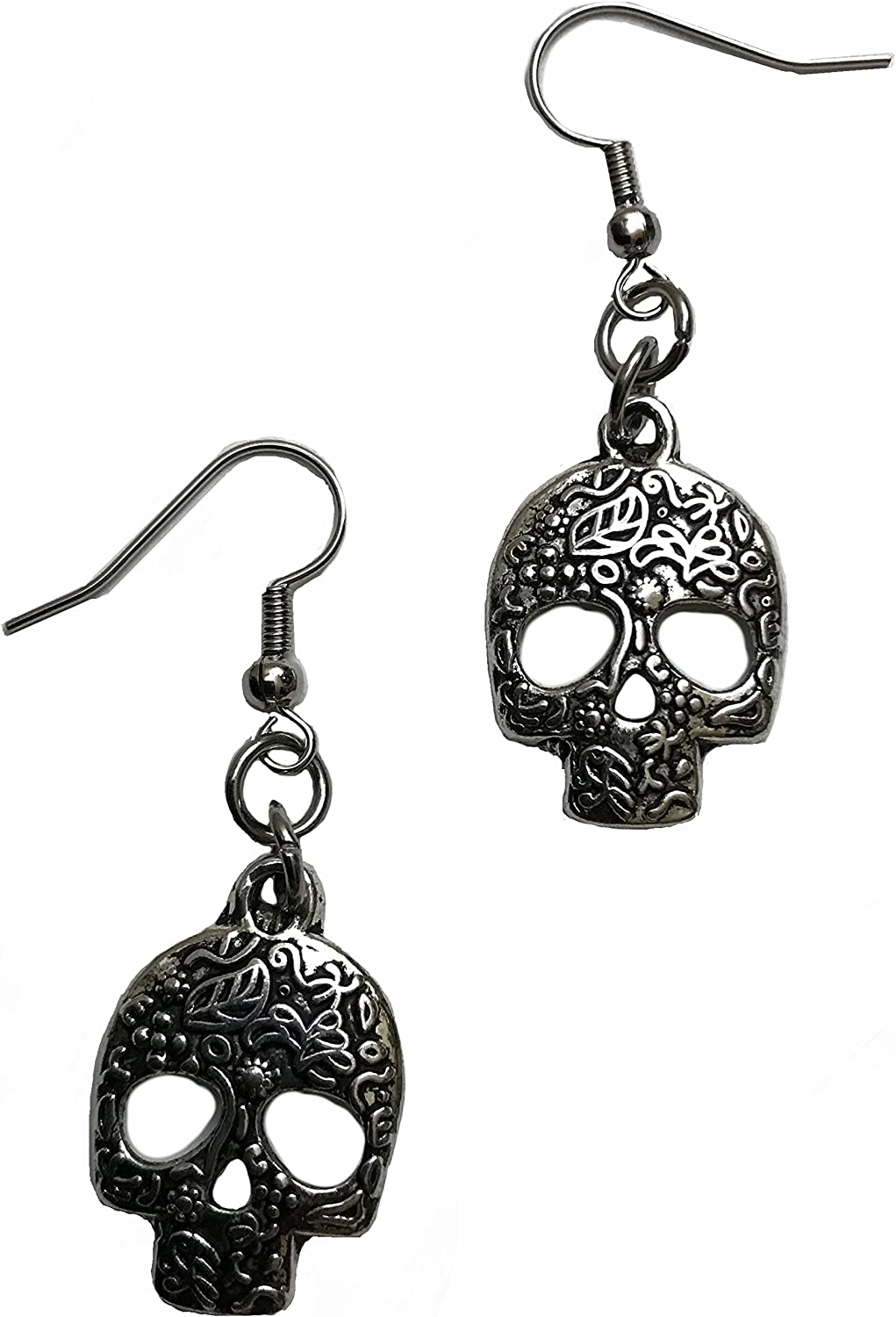 Lampwork with Skull and Leaves Bright Lampwork Earrings Skully Southwestern Style Dia de los Muertos E92 Gifts for Mom Gifts for Mom