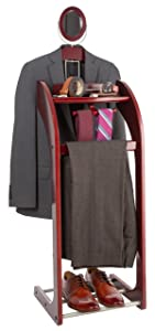 StorageMaid Clothes Valet Stand with Mirror – Beautiful Solid Mahogany Hardwood Wardrobe Valet Stand for Clothes with Trouser Bar, Jacket Hanger, Tray Organizer, Tie & Belt Hook and Shoe Rack