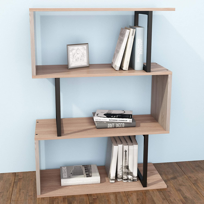 SIMPDIY Bookshelf Rack,Industrial Bookcase,3-Tier Wood-Look Steel Frame Storage Shelf, Easy-Assembly Metal Frame Bookcase Storage Shelf for Living Room, Narrow, Bedroom, Office (White Oak Finish)