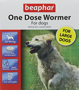 Beaphar One Dose Wormer for Large Dogs 4 Tablets (Pack of 2, Total 8 Tablets): Amazon.es: Electrónica