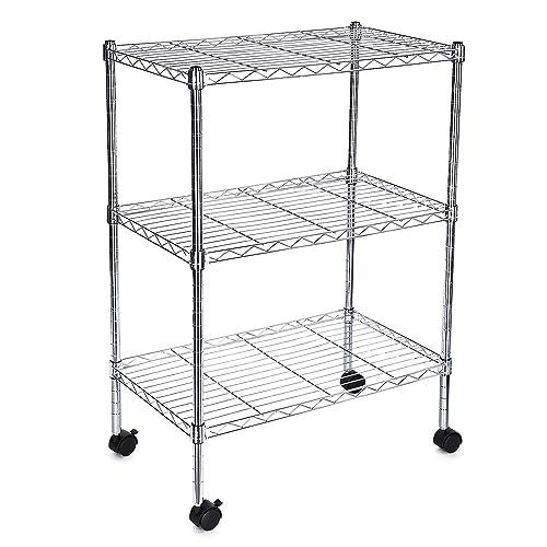 Kitchen Storage Units On Wheels: MULTI PURPOSE 4 Tier Carbon Steel Wire Steel Shelving Unit