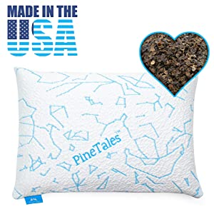 PineTales, Cool Touch Organic Buckwheat Pillow with Designer Cooling Pillowcase, Japanese Size (14 inches x 20 inches)
