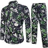 Nevera Men 2 Piece Suit Lapel Floral Print Button Slim Fit Shirt Pants Suit