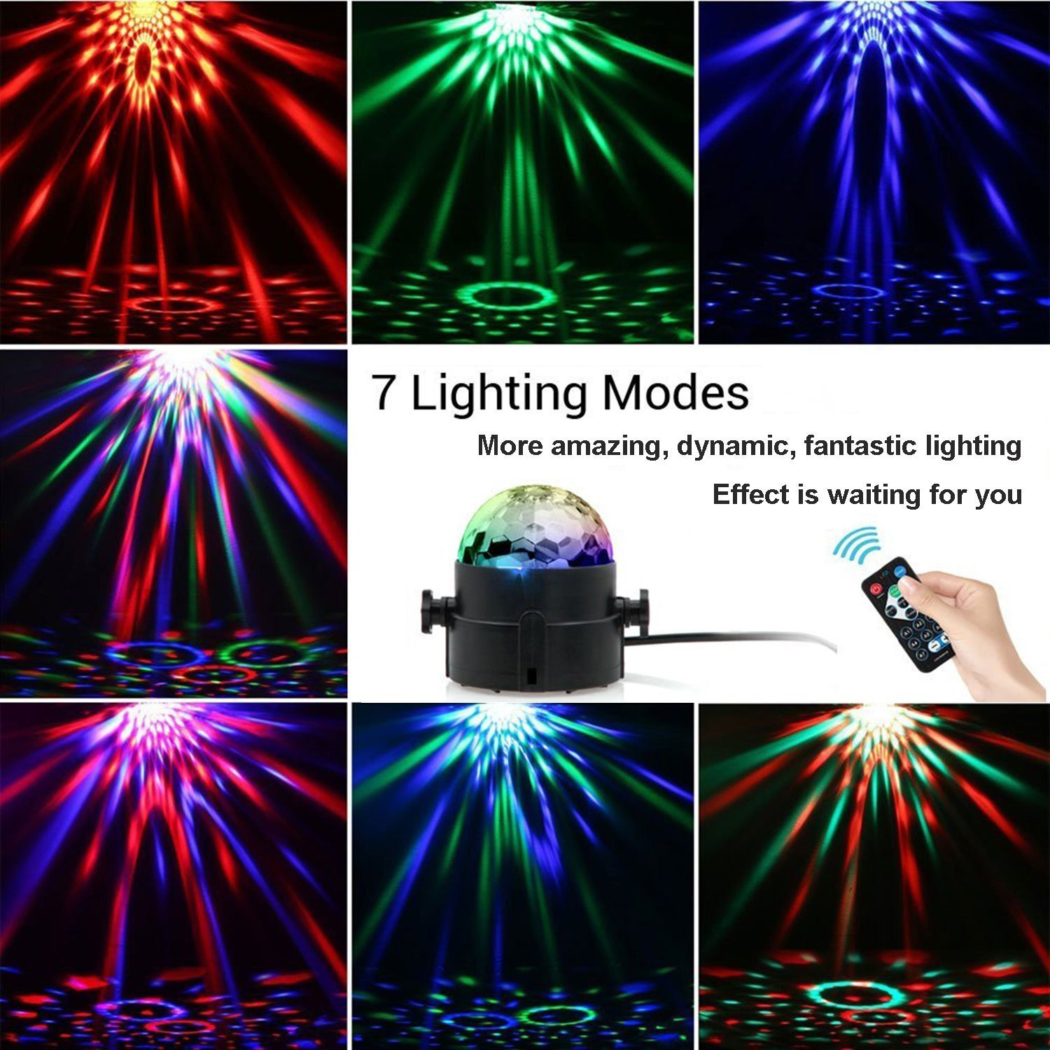 [Upgraded]DJ light Sound Activated Party Lights Disco Ball, Renoliss Strobe Club lights Effect Magic Mini Led Stage Lights For Christmas Home KTV Xmas Wedding Show Pub - RGB 3W 7Color